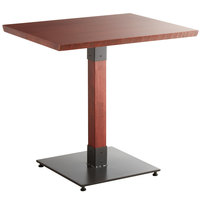 Lancaster Table & Seating 24 inch x 30 inch Solid Wood Live Edge Dining Height Table with Mahogany Finish
