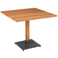 Lancaster Table & Seating 36 inch Square Solid Wood Live Edge Dining Height Table with Antique Natural Finish