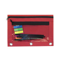 Advantus 94037 9 1/2 inch x 7 inch Red Double Pocket Binder Pouch with Clear Plastic Front - 6/Pack