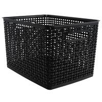 Advantus 40328 13 1/2 inch x 10 1/2 inch x 8 3/4 inch Large Black Plastic Weave Bin - 2/Pack