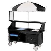 Cambro CVC72110 Camcruiser Black Customizable Vending Cart with Umbrella and 3 Counter Wells