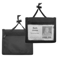 Advantus 75452 4 inch x 2 1/4 inch Black Horizontal ID Badge Holder with Convention Neck Pouch - 12/Pack