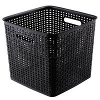 Advantus 40376 12 5/8 inch x 12 5/8 inch x 11 inch Extra Large Black Plastic Weave Bin - 2/Pack