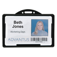 Advantus 75656 3 3/8 inch x 2 1/8 inch Black Horizontal ID Card Holder   - 25/Pack