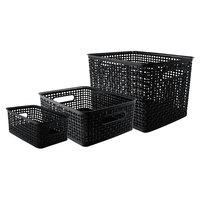 Advantus 40329 Assorted Black Plastic Weave Bin - 3/Pack