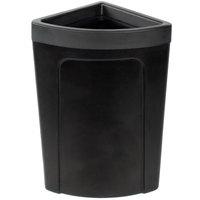 Continental 8324BK Corner Round 21 Gallon Black Corner Trash Can - Rim Type
