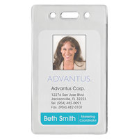 Advantus 75451 2 3/8 inch x 3 3/8 inch Clear Vertical Proximity ID Badge Holder - 50/Pack