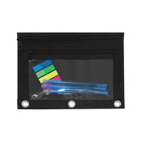 Advantus 94036 9 1/2 inch x 7 inch Black Double Pocket Binder Pouch with Clear Plastic Front - 6/Pack