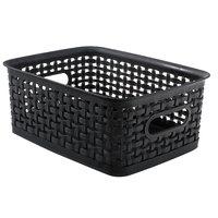 Advantus 40326 10 inch x 7 1/2 inch x 4 inch Small Black Plastic Weave Bin - 3/Pack