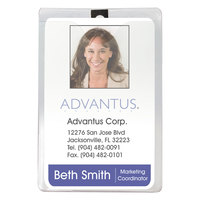 Advantus 75457 3 inch x 4 inch Clear Vertical ID Badge Holder with Clip - 50/Pack