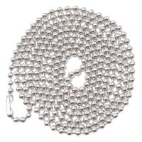 Advantus 75417 36 inch Nickel Plated Ball Style ID Badge Holder Chain - 100/Box