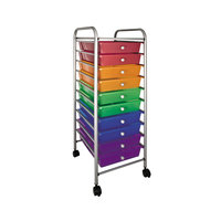 Advantus 34004 13 inch x 15 3/8 inch x 37 3/4 inch Assorted Color Portable 10-Drawer Organizer