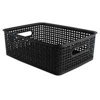 Advantus 40327 14 inch x 10 1/2 inch x 4 3/4 inch Medium Black Plastic Weave Bin - 2/Pack