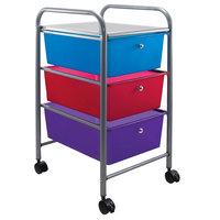 Advantus 34081 13 inch x 15 3/8 inch x 25 7/8 inch Assorted Color Portable 3-Drawer Organizer
