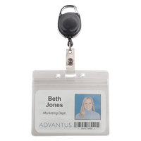 Advantus 91130 3 3/4 inch x 2 5/8 inch Clear / Smoke Horizontal Resealable ID Badge Holder with Cord Reel - 10/Pack