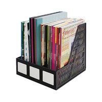 Advantus 34091 Black 3 Compartment Plastic Desktop Magazine / Literature File