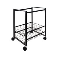 Advantus 34075 12 7/8 inch x 15 inch x 21 1/8 inch Black Mobile File Cart with Sliding Baskets
