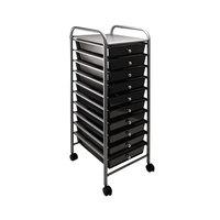 Advantus 34007 13 inch x 15 3/8 inch x 37 3/4 inch Smoke Gray Portable 10-Drawer Organizer