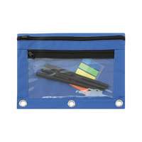 Advantus 94038 9 1/2 inch x 7 inch Blue Double Pocket Binder Pouch with Clear Plastic Front - 6/Pack