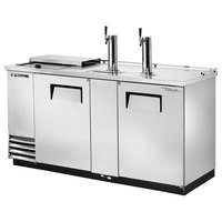 True TDD-3CT-S 70 inch Stainless Steel Three Keg Club Top Kegerator Beer Dispenser with Two Taps