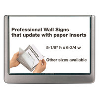 Durable 497737 6 3/4 inch x 5 1/8 inch Gray Interior Wall Click Sign Holder