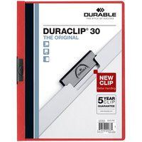 Durable 220303 DuraClip Vinyl Clear / Red Letter Sized 30 Page Report Cover - 25/Pack