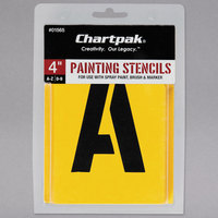 Chartpak 01565 Manila 4 inch A-Z/0-9 Painting Stencils - 35/Pack