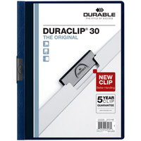 Durable 220328 DuraClip Vinyl Clear / Navy Letter Sized 30 Page Report Cover - 25/Pack