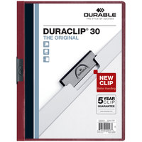 Durable 220331 DuraClip Vinyl Clear / Maroon Letter Sized 30 Page Report Cover - 25/Pack