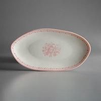 Oneida L6703052342 Lancaster Garden 9 3/4 inch Pink Porcelain Oval Plate - 36/Case