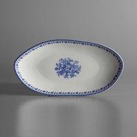 Oneida L6703061342 Lancaster Garden 9 3/4 inch Blue Porcelain Oval Plate - 36/Case
