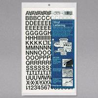 Chartpak 01010 Black Adhesive 1/2 inch Vinyl Helvetica Letters - 201/Pack