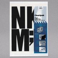 Chartpak 01184 Black Adhesive 6 inch Vinyl Helvetica Letters   - 38/Pack