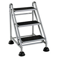 Cosco 11834GGB1 Platinum / Black Three-Step Rolling Step Stool