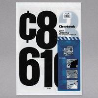 Chartpak 01198 Black Adhesive 6 inch Vinyl Helvetica Numbers - 21/Pack