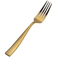 Bon Chef S3017GM Manhattan 8 3/8 inch Extra Heavy Weight Matte Gold Stainless Steel European Dinner Fork - 12/Pack