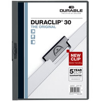 Durable 220357 DuraClip Vinyl Clear / Graphite Letter Sized 30 Page Report Cover - 25/Pack