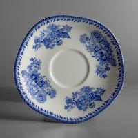 Oneida L6703061500 Lancaster Garden 6 inch Blue Porcelain Saucer - 48/Case