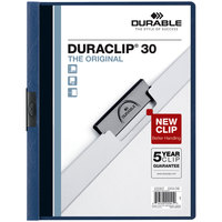 Durable 220307 DuraClip Vinyl Clear / Dark Blue Letter Sized 30 Page Report Cover - 25/Pack