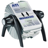 Durable 241701 VISIFIX Black / Silver 400 Card Flip Rotary Business Card File for 4 1/8 inch x 2 7/8 inch Cards