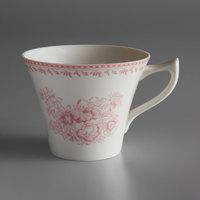 Oneida L6703052520 Lancaster Garden 6 oz. Pink Porcelain Tea Cup - 48/Case