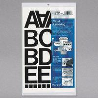 Chartpak 01050 Black Adhesive 2 inch Vinyl Helvetica Letters - 77/Pack