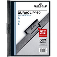 Durable 221401 DuraClip Vinyl Clear / Black Letter Sized 60 Page Report Cover - 25/Pack