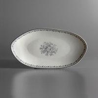 Oneida L6703068342 Lancaster Garden 9 3/4 inch Grey Porcelain Oval Plate - 36/Case