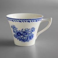 Oneida L6703061520 Lancaster Garden 6 oz. Blue Porcelain Tea Cup - 48/Case