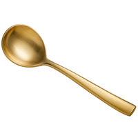 Bon Chef S3001GM Manhattan 6 3/8 inch 18/10 Extra Heavy Weight Matte Gold Stainless Steel Bouillon Spoon - 12/Pack