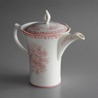 Oneida L6703052860 Lancaster Garden 12 oz. Pink Porcelain Tea Pot - 12/Case