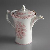 Oneida L6703052861 Lancaster Garden 26 oz. Pink Porcelain Tea Pot - 12/Case