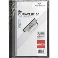 Durable 220401 DuraClip Vinyl Clear / Black Letter Sized 30 Page Report Cover - 5/Pack
