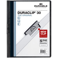 Durable 220301 DuraClip Vinyl Clear / Black Letter Sized 30 Page Report Cover - 25/Pack